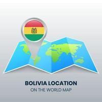 ícone de localização da Bolívia no mapa mundial, ícone de alfinete redondo da Bolívia vetor