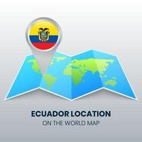 ícone de localização do equador no mapa mundial, ícone de alfinete redondo do equador vetor