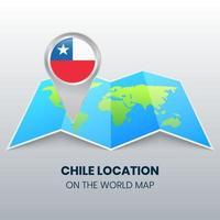 ícone de localização do Chile no mapa mundial, ícone de alfinete redondo do Chile vetor