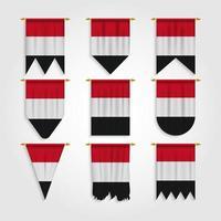 bandeira do Iêmen em diferentes formas, bandeira do Iêmen em várias formas vetor