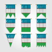 bandeira do uzbequistão em diferentes formas vetor