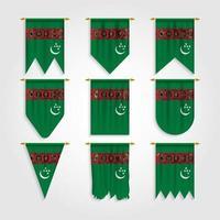 bandeira do turcomenistão em diferentes formas vetor