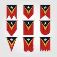 bandeira do timor leste em diferentes formas vetor