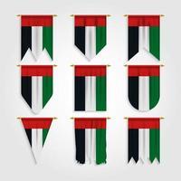 bandeira dos emirados árabes unidos em diferentes formas vetor