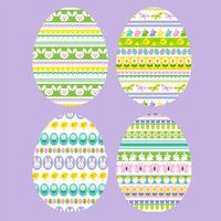 Ovos de Páscoa com padrões de riscas vetor