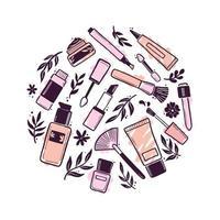 mão desenhada conjunto de elementos cosméticos de beleza de maquiagem vetor