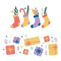 elementos de natal com caixa de presente, pacote, meia, doces vetor