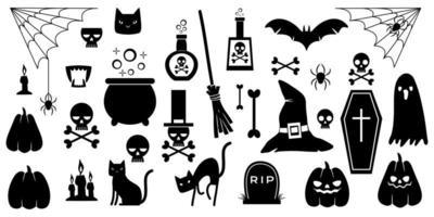 conjunto de silhuetas de elementos de halloween em um fundo branco. vetor