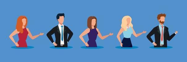 avatares de pessoas sobre desenho vetorial de fundo azul vetor