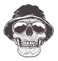 Crânio em chapéu e óculos de sol