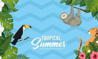 pôster de verão tropical com animais exóticos e folhas vetor