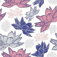 mão desenhada floral padrão sem emenda com desenho de lótus vetor