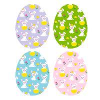 ovos de páscoa com coelhinhos bonitinhos e filhotes
