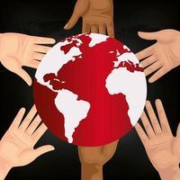 planeta do mundo com ícone de mãos isoladas vetor