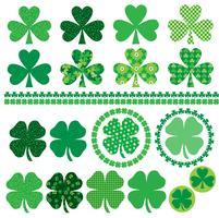 Quadros de ícones de trevo de dia de Saint Patrick e fronteiras vetor