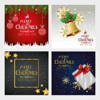 definir pôster de feliz natal e feliz ano novo com decoração vetor