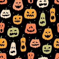 padrão sem emenda de abóbora de halloween. ilustração vetorial desenhada à mão vetor