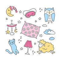 sono definido em estilo doodle. boa noite símbolos lua, lâmpada, gato, travesseiro vetor