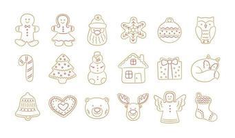 conjunto de biscoitos de gengibre para o Natal em estilo doodle. vetor