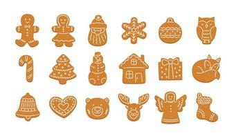 conjunto de biscoitos de gengibre fofos para o natal vetor