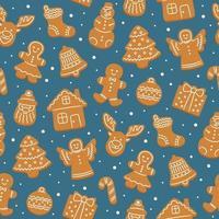 padrão sem emenda de biscoitos de gengibre para o Natal. vetor