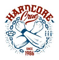 Emblema de hardcore arte vetorial