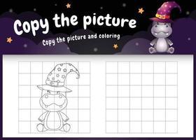 copie o jogo de imagem para crianças e a página para colorir com um hipopótamo fofo vetor