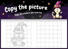 copie o jogo de imagem para crianças e a página para colorir com um lindo cão husky vetor