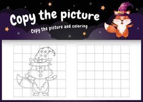 copie o jogo de crianças e a página para colorir com uma raposa fofa vetor