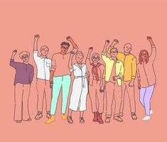 unidade na diversidade multicultural, equipe e amizade. vetor