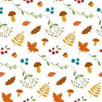 folhas de outono sem costura padrão cogumelos e bagas vetor