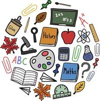 de volta às aulas doodle clipart redondo colorido vetor