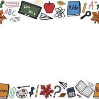 de volta às aulas doodle quadro colorido de vetor