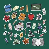 de volta às aulas doodle elementos isolados de vetor colorido