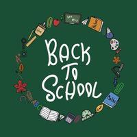 de volta às aulas doodle clipart redondo colorido com letras vetor