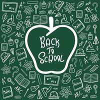 de volta às aulas doodle vetor branco no banner de mesa verde