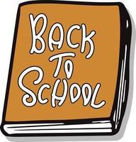 de volta às aulas doodle livro colorido com vetor de letras