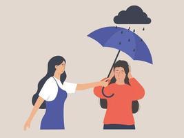 garota conforta seu triste amigo conceito de saúde mental vetor