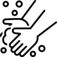 ícone de linha para lavar as mãos vetor