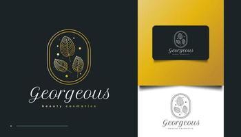 logotipo elegante de folha de ouro em estilo de linha minimalista vetor