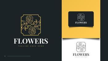 mão desenhada logotipo de flores em estilo de linha de arte minimalista vetor