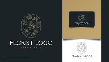 Logotipo minimalista de flores desenhadas à mão em estilo de linha de arte vetor