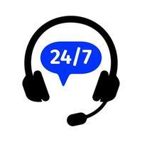 ícone de linha direta com fones de ouvido e 24 7 sinal. serviço de suporte ao cliente vetor