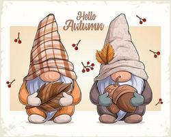 mão desenhada gnomos fofos com disfarce de outono segurando nozes e folhas vetor