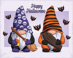 mão desenhada gnomos com disfarce de halloween segurando vassoura de bruxa e caixão vetor
