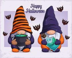 mão desenhada gnomos com disfarce de halloween segurando um caldeirão e veneno vetor