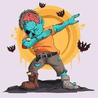 zumbi fazendo dabbing dance com morcegos ao seu redor personagem de halloween vetor