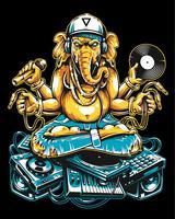 Ganesha Dj Sentado em Material Musical Eletrônico vetor