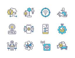 conjunto de ícones de cores rgb relacionados com cidade inteligente vetor