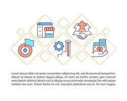 ícones de linha de conceito de desenvolvimento de negócios com texto vetor